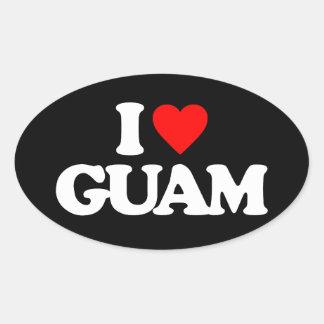 私はグアムを愛します 楕円形シール