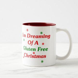 私はグルテンのクリスマスの自由に夢を見ています ツートーンマグカップ