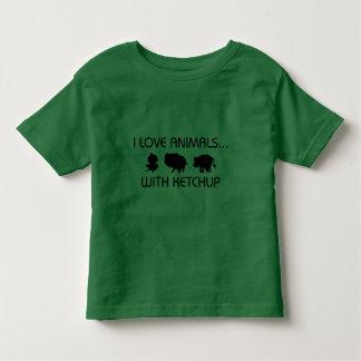 私はケチャップを持つ動物を愛します トドラーTシャツ