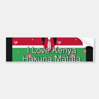 私はケニヤHakuna Matataのクールな旗色を愛します バンパーステッカー