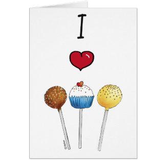 私はケーキのポップを愛します カード