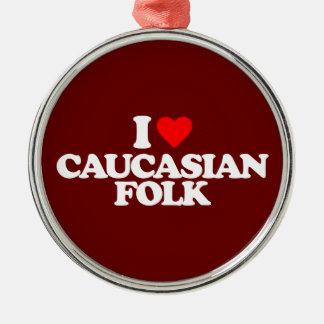 私はコーカサス地方のフォークを愛します シルバーカラー丸型オーナメント