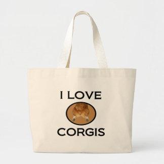 私はコーギーのコーギーのお尻を愛します ラージトートバッグ