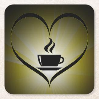 私はコーヒーを愛します スクエアペーパーコースター