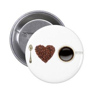 私はコーヒー01を愛します 5.7CM 丸型バッジ