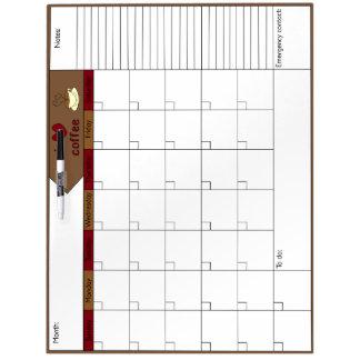 私はコーヒー6Wカレンダーを愛します ホワイトボード