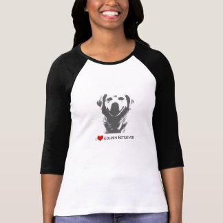 私はゴールデン・リトリーバーの女性のBellaのTシャツ3/4を愛します Tシャツ