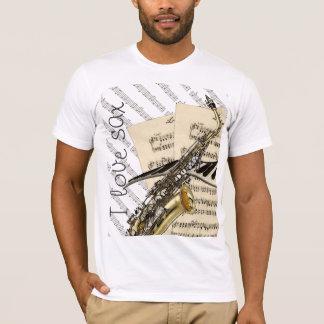 私はサクソフォーンおもしろいな音楽デザインを愛します Tシャツ