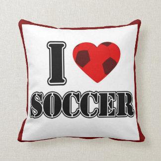 私はサッカー-枕--を愛します クッション