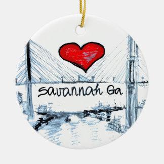 私はサバンナGaを愛します セラミックオーナメント