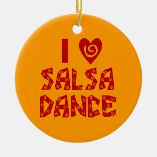 私はサルサのダンスのカスタムな踊りの恋人を愛します セラミックオーナメント