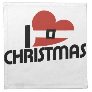 私はサンタおよびクリスマスを愛します ナプキンクロス