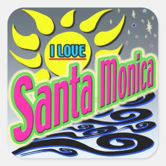 """""""私はサンタモニカを愛します: 夜日光の""""ステッカー! スクエアシール"""