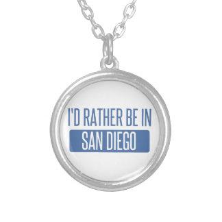 私はサンディエゴにむしろいます シルバープレートネックレス