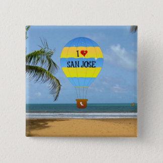私はサンノゼの熱気の気球のビーチ場面を愛します 5.1CM 正方形バッジ