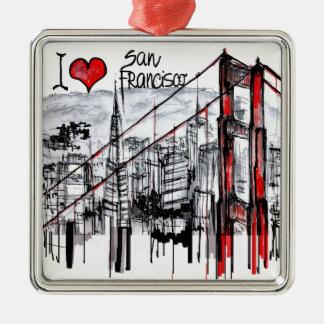 私はサンフランシスコを愛します メタルオーナメント