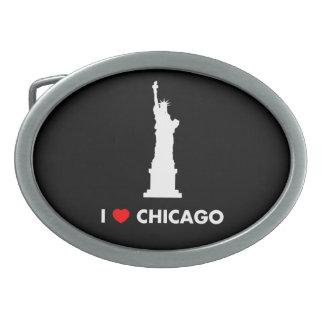 私はシカゴ-自由の女神--を愛します 卵形バックル