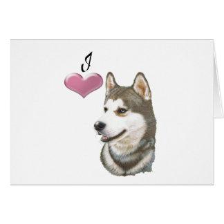 私はシベリアンハスキー犬の芸術のデザインを愛します カード