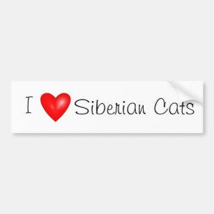 私はシベリア猫のバンパーステッカーを愛します バンパーステッカー