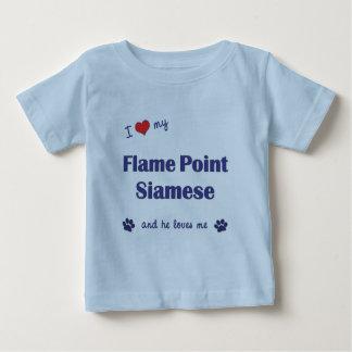 私はシャム私の炎ポイントを愛します(オス猫) ベビーTシャツ