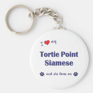私はシャムTortie私のポイントを愛します(メス猫) キーホルダー