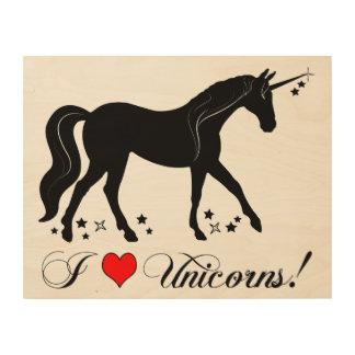 私はシルエットの星とのユニコーンを愛します ウッドウォールアート