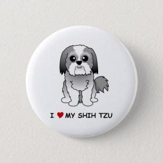 私はシーズー(犬)のTzuの私のバッジを愛します 缶バッジ