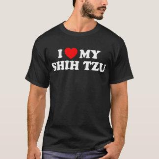 私はシーズー(犬)のTzuの私の基本的な暗いTシャツを愛します Tシャツ