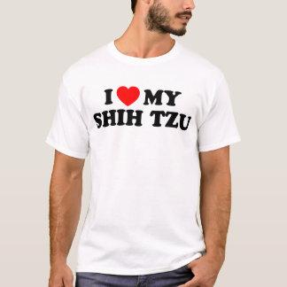 私はシーズー(犬)のTzuの私の基本的なTシャツを愛します Tシャツ