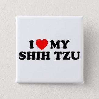 私はシーズー(犬)のTzu私のボタンを愛します 缶バッジ