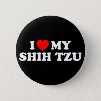 私はシーズー(犬)のTzu私のボタンを愛します 5.7cm 丸型バッジ