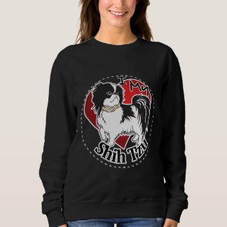 私はシーズー(犬)のTzu私の幸せで愛らしくおもしろいで及びかわいい犬を愛します スウェットシャツ