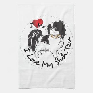 私はシーズー(犬)のTzu私の犬を愛します キッチンタオル