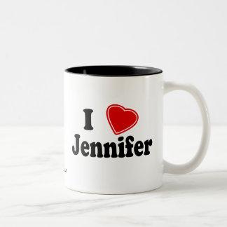 私はジェニファーを愛します ツートーンマグカップ
