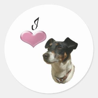 私はジャックラッセル犬を愛します ラウンドシール
