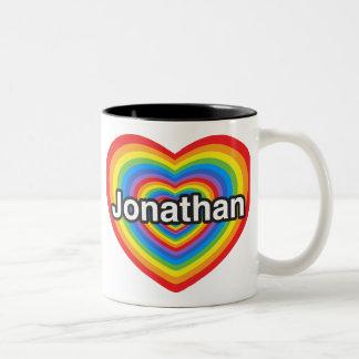 私はジョナサンを愛します。 私はジョナサン愛します。 ハート ツートーンマグカップ
