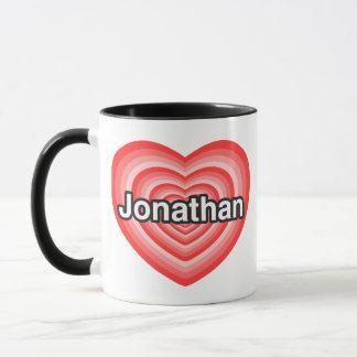 私はジョナサンを愛します。 私はジョナサン愛します。 ハート マグカップ