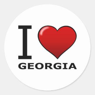 私はジョージアを愛します 丸形シールステッカー