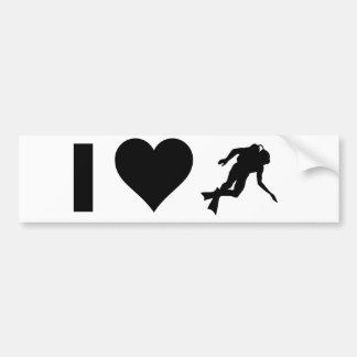 私はスキューバダイビングを愛します バンパーステッカー