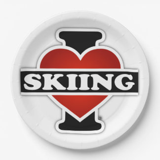 私はスキーをすることを愛します ペーパープレート