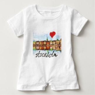 私はストックホルムを愛します ベビーロンパース