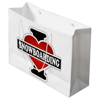 私はスノーボードを愛します ラージペーパーバッグ