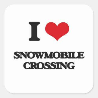 私はスノーモービルの交差を愛します スクエアシール