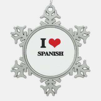 私はスペイン語を愛します スノーフレークピューターオーナメント