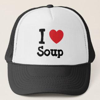 私はスープハートのTシャツを愛します キャップ