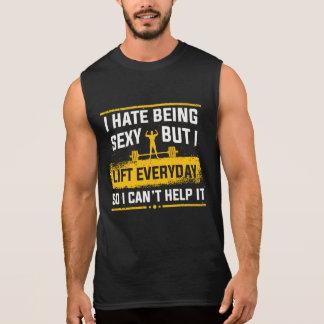 私はセクシーな体育館のおもしろいなタンクであることを憎みます 袖なしシャツ