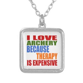 私はセラピーが高いのでアーチェリーを愛します シルバープレートネックレス