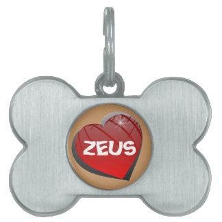 私はゼウスの小犬のペットタグを愛します ペットネームタグ