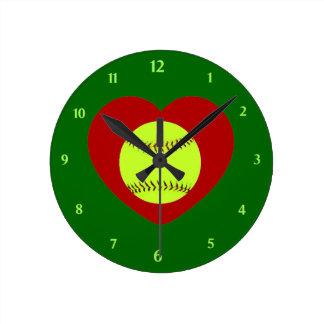 私はソフトボールの柱時計を愛します ラウンド壁時計