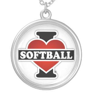 私はソフトボールを愛します シルバープレートネックレス